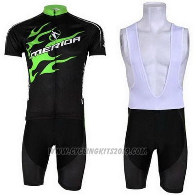 2013 Cycling Jersey Merida Black and Green Short Sleeve and Bib Short