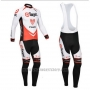 2013 Cycling Jersey Trek Orange and White Long Sleeve and Bib Tight