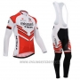 2014 Cycling Jersey Bissell White and Red Long Sleeve and Bib Tight