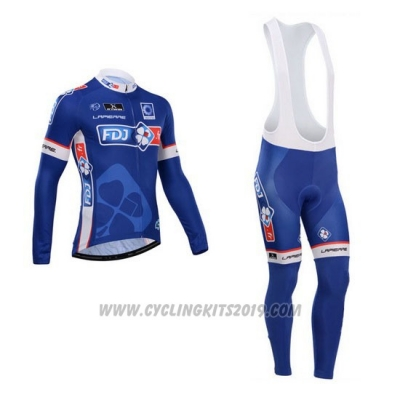 2014 Cycling Jersey FDJ Blue Long Sleeve and Bib Tight