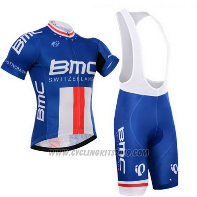 2015 Cycling Jersey BMC Campione The United States Blue Short Sleeve and Bib Short