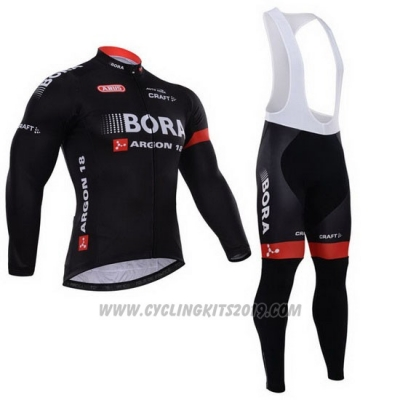 2015 Cycling Jersey Bora Black Long Sleeve and Bib Tight