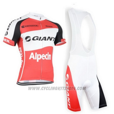 2015 Cycling Jersey Giant Alpecin Red and White Short Sleeve and Bib Short