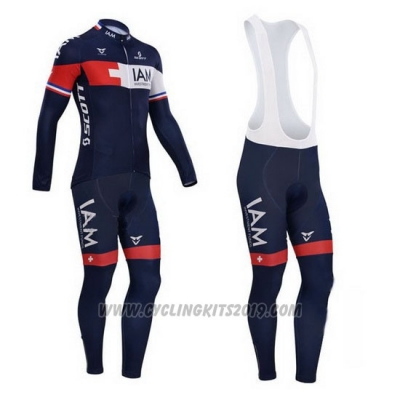 2015 Cycling Jersey IAM Blue and Red Long Sleeve and Bib Tight