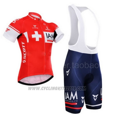 2015 Cycling Jersey IAM Campione Switzerland Short Sleeve and Bib Short
