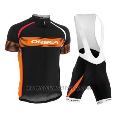 2015 Cycling Jersey Orbea Black and Orange Short Sleeve and Bib Short