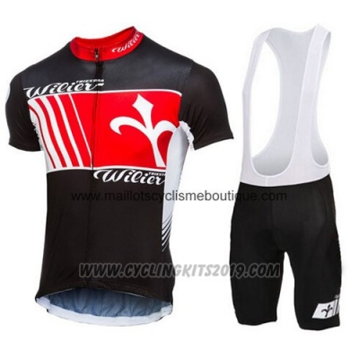 2015 Cycling Jersey Wieiev Black and Red Short Sleeve and Bib Short