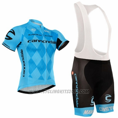 2016 Cycling Jersey Cannondale Black and Blue Short Sleeve and Bib Short