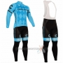 2016 Cycling Jersey Cannondale Blue and Black Long Sleeve and Bib Tight