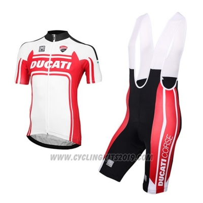 2016 Cycling Jersey Ducati White and Red Short Sleeve and Bib Short