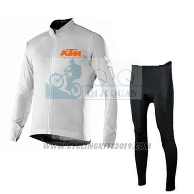 2016 Cycling Jersey Ktm White Long Sleeve and Salopette