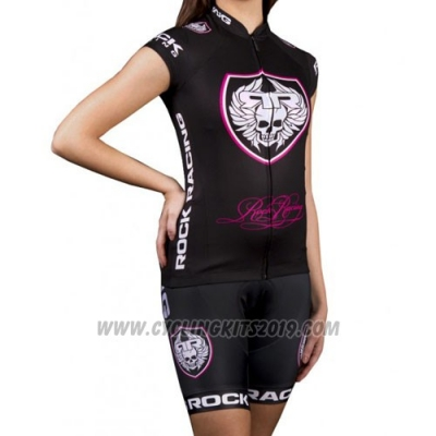 2016 Cycling Jersey Women Rock Racing Marron Short Sleeve and Bib Short