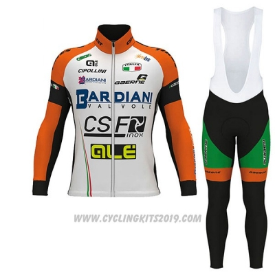 2017 Cycling Jersey Bardiani Csf Ml White and Green Long Sleeve and Bib Tight