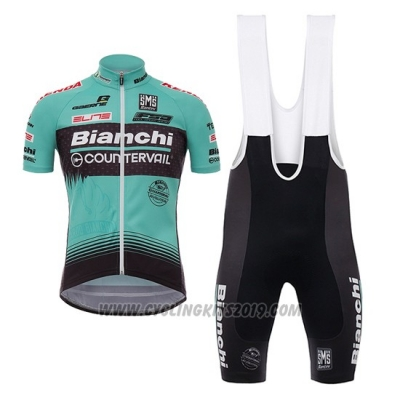 2017 Cycling Jersey Bianchi Countervail Green Short Sleeve and Bib Short