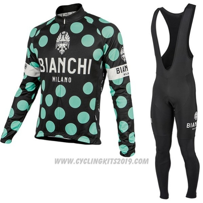 2017 Cycling Jersey Bianchi Milano Ml Black and Green Long Sleeve and Bib Tight