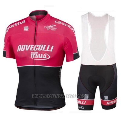 2017 Cycling Jersey Novecolli Red and Black Short Sleeve and Bib Short