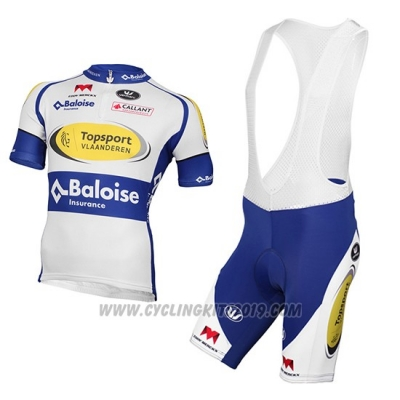 2017 Cycling Jersey Sport Vlaanderen Baloise White and Yellow Short Sleeve and Bib Short