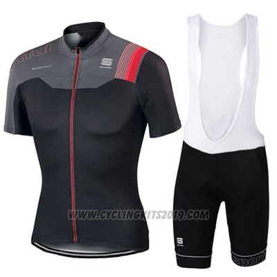 2017 Cycling Jersey Sportful Black and Red Short Sleeve and Bib Short