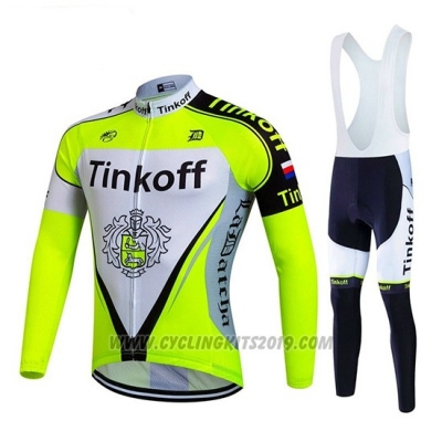 2017 Cycling Jersey Tinkoff Bright Green Long Sleeve and Bib Tight