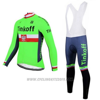 2017 Cycling Jersey Tinkoff Green Long Sleeve and Bib Tight