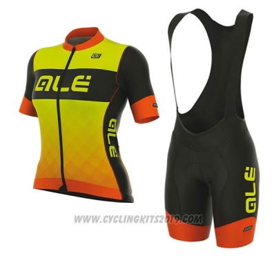 2017 Cycling Jersey Women ALE R-ev1 Master Yellow and Orange Short Sleeve and Bib Short