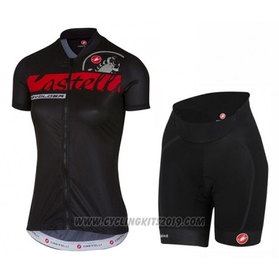 2017 Cycling Jersey Women Castelli Black Short Sleeve and Bib Short