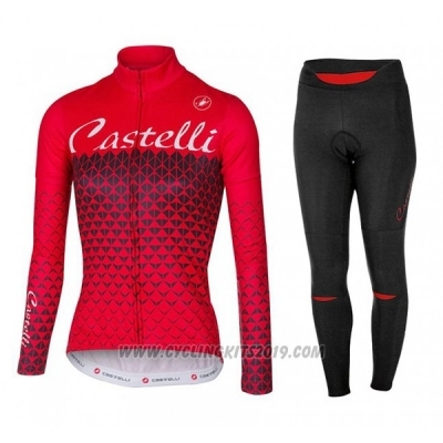 2017 Cycling Jersey Women Castelli Red Long Sleeve and Bib Tight