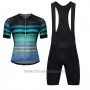 2017 Cycling Jersey Ykywbike Aa07 Adh07 Black and Sky Blue Short Sleeve and Bib Short