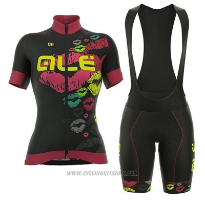 2018 Cycling Jersey ALE Black Pink Short Sleeve and Bib Short