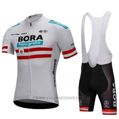 2018 Cycling Jersey Bora Campione Austria White Short Sleeve and Bib Short