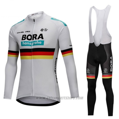 2018 Cycling Jersey Bora Campione Belgium White Long Sleeve and Bib Tight
