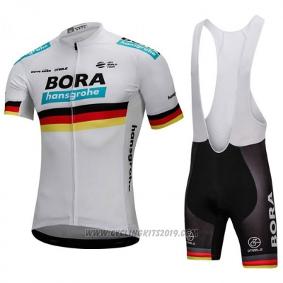 2018 Cycling Jersey Bora Campione Belgium White Short Sleeve and Bib Short