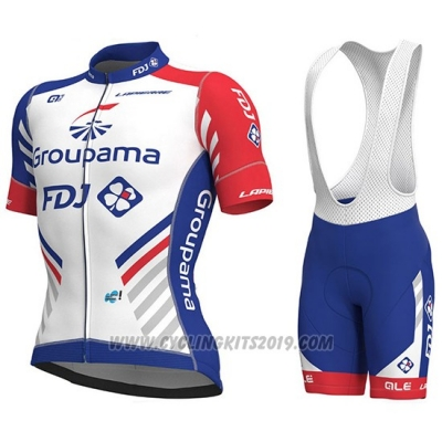 2018 Cycling Jersey Groupama FDJ PRS White and Blue Short Sleeve and Bib Short
