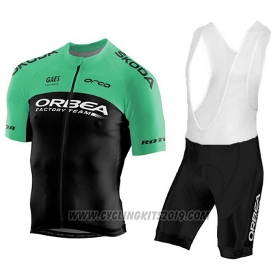 2018 Cycling Jersey Orbea Factory Black Green Short Sleeve and Bib Short