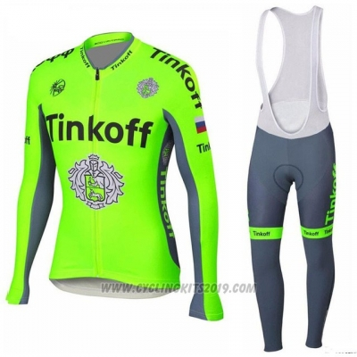 2018 Cycling Jersey Tinkoff Green Long Sleeve and Bib Tight