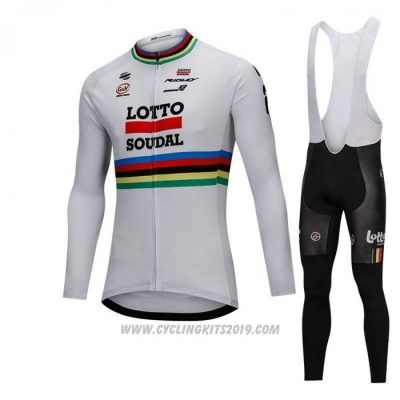 2018 Cycling Jersey UCI Mondo Campione Lotto Soudal White Long Sleeve and Bib Tight