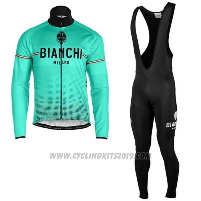 2019 Cycling Jersey Bianchi Milano Xd Blue Gray Long Sleeve and Bib Tight