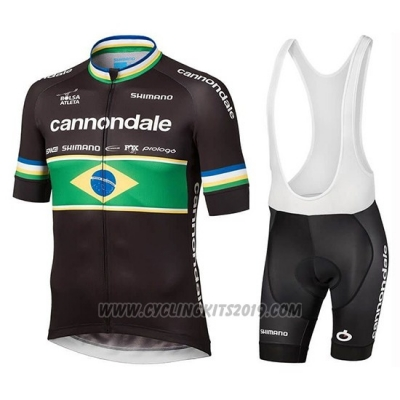 2019 Cycling Jersey Cannondale Shimano Champion Brazil Short Sleeve and Bib Short
