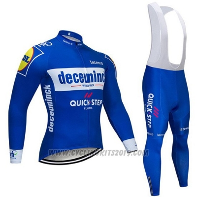 2019 Cycling Jersey Deceuninck Quick Step Blue White Long Sleeve and Bib Tight
