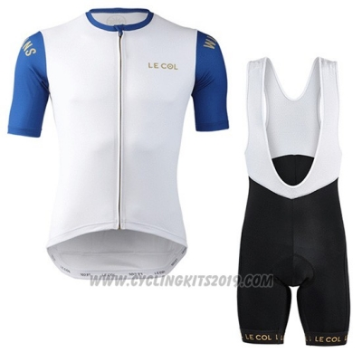 2019 Cycling Jersey Lecol White Blue Short Sleeve and Bib Short