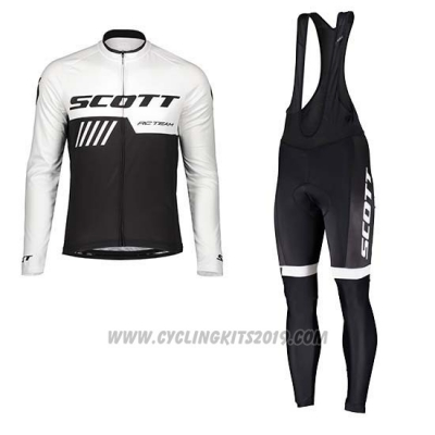 2019 Cycling Jersey Scott Black White Long Sleeve and Bib Tight