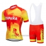 2019 Cycling Jersey Spain Red and Yellow Short Sleeve and Bib Short