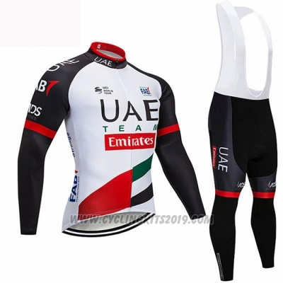 2019 Cycling Jersey UCI World Champion Uae White Black Red Long Sleeve and Bib Tight