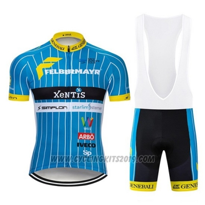 2019 Cycling Jersey XeNTiS Blue White Short Sleeve and Bib Short