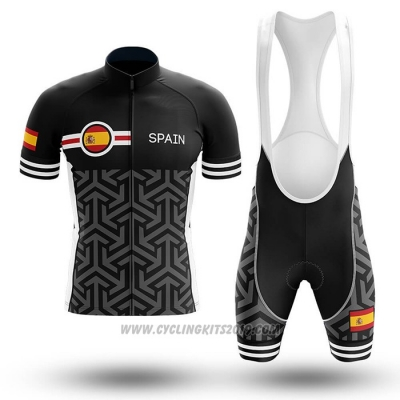 2020 Cycling Jersey Champion Spain Black Short Sleeve and Bib Short