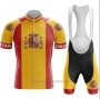 2020 Cycling Jersey Champion Spain Red Yellow Short Sleeve and Bib Short
