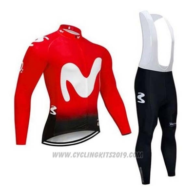 2020 Cycling Jersey Movistar Red White Long Sleeve and Bib Tight