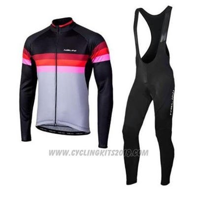2020 Cycling Jersey Nalini Black Red Long Sleeve and Bib Tight