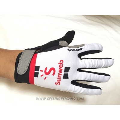2020 Sunweb Full Finger Gloves White
