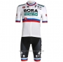 2021 Cycling Jersey Bora Champion Belgium White Short Sleeve and Bib Short